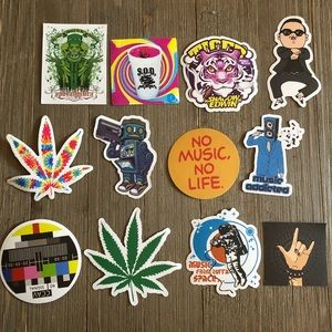 12 assorted music/ miscellaneous themed stickers